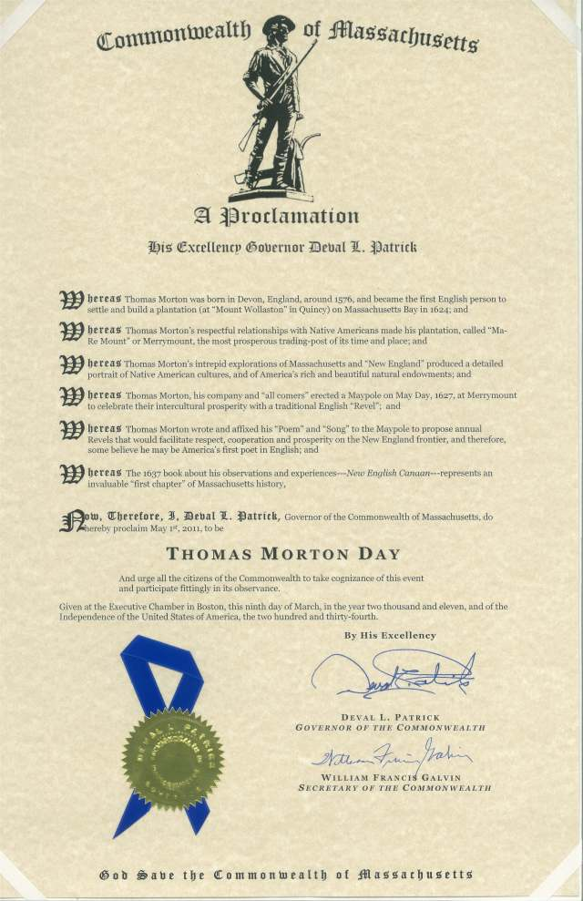 Governor Patrick's Proclamation of May 1st as Thomas Morton Day in Massachusetts