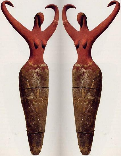 Female figurines with upraised arms, from pre-Dynastic Egypt c 3500 BCE