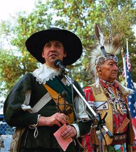 Chief One Bear and 'English' speaker at Wessagussett 2004