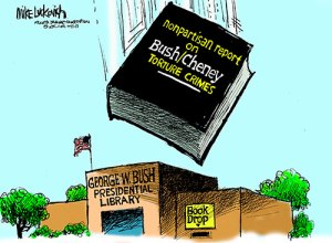 Dubya Bush Library Book Drop, by Mike Luckovich