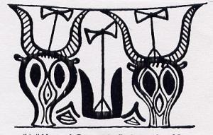 [251] Vase from LM Cyprus w Bull skulls, Labrys