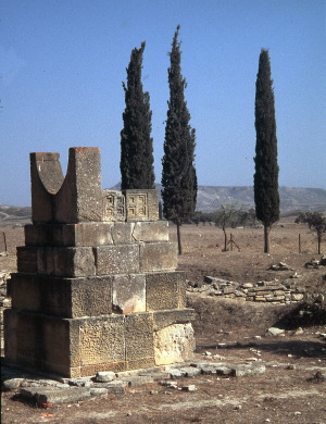 [255] Pigadhes Cyprus monument w two 4-fold labyrinth designs