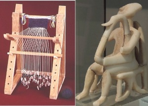 Cycladic warp-weighted loom, harper