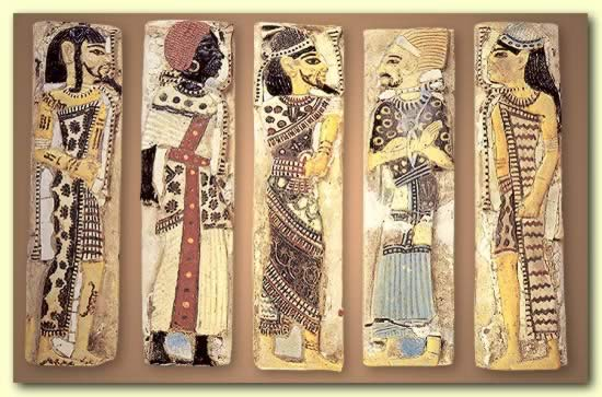 'foreigners' fr Egypt--l to r likely Syrian, Libyan, Canaanite, Philistine, Hurrian