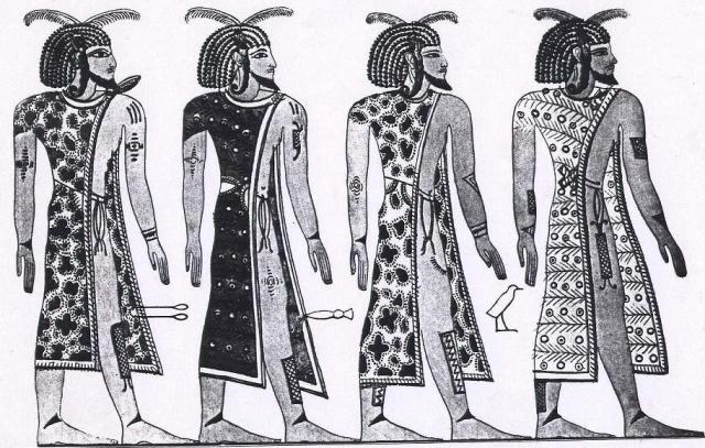 Temehu Libyans with web tattoos, fr Bates 1914 Plate III