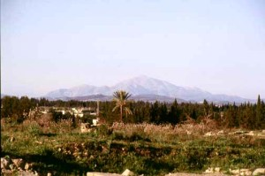 Ugarit view north to Mt Zaphon-Casius, 'Baal's Mtn'